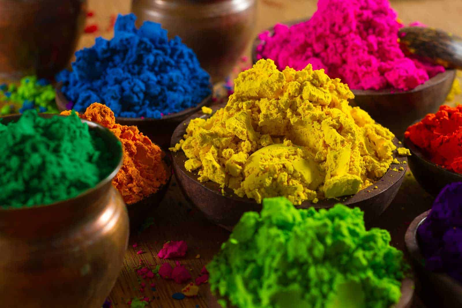 Colorful, finely powdered Indian pigments.