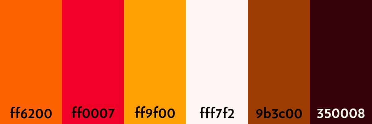 Example Of Analogous Colour Palette Built Using Oranges And Reds The First Three Colours Sit